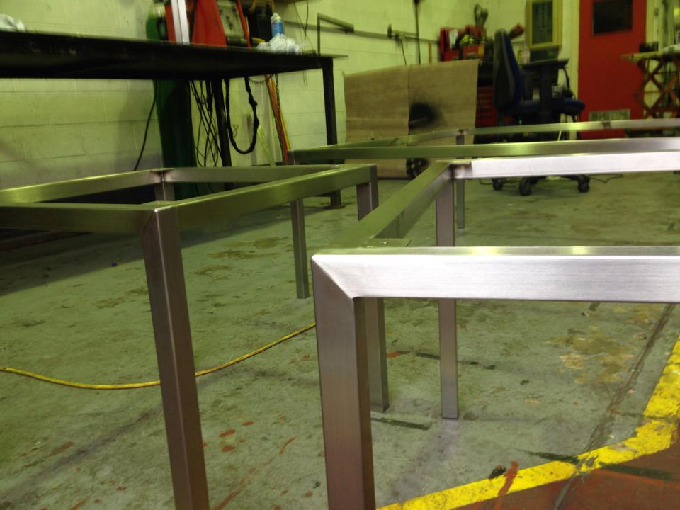 Stainless steel tables for hotel receiption